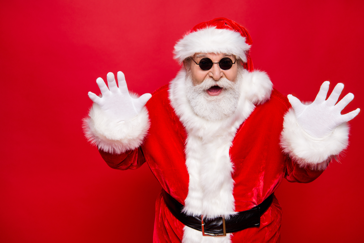 Surprised Santa with black glasses